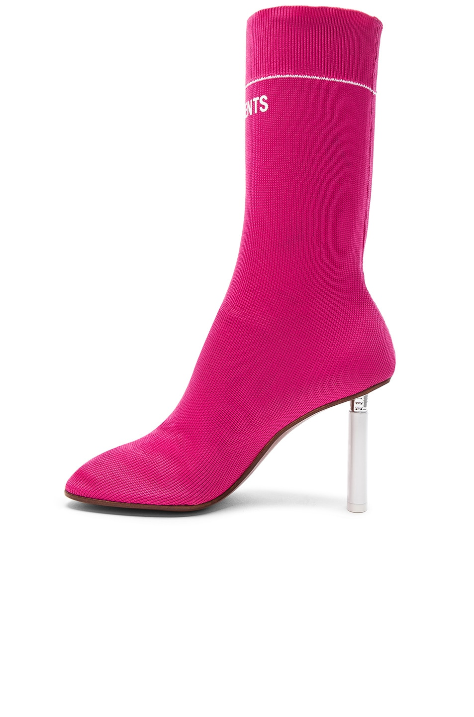 Image 5 of VETEMENTS Sock Ankle Boots in Pink & White