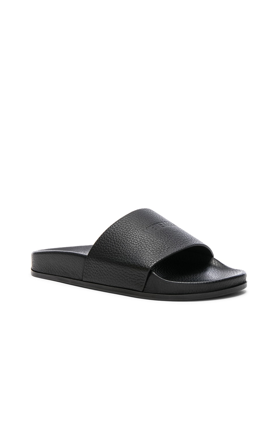 Image 2 of VETEMENTS Leather Slides in Black