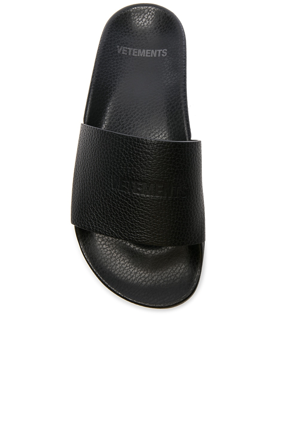 Image 4 of VETEMENTS Leather Slides in Black