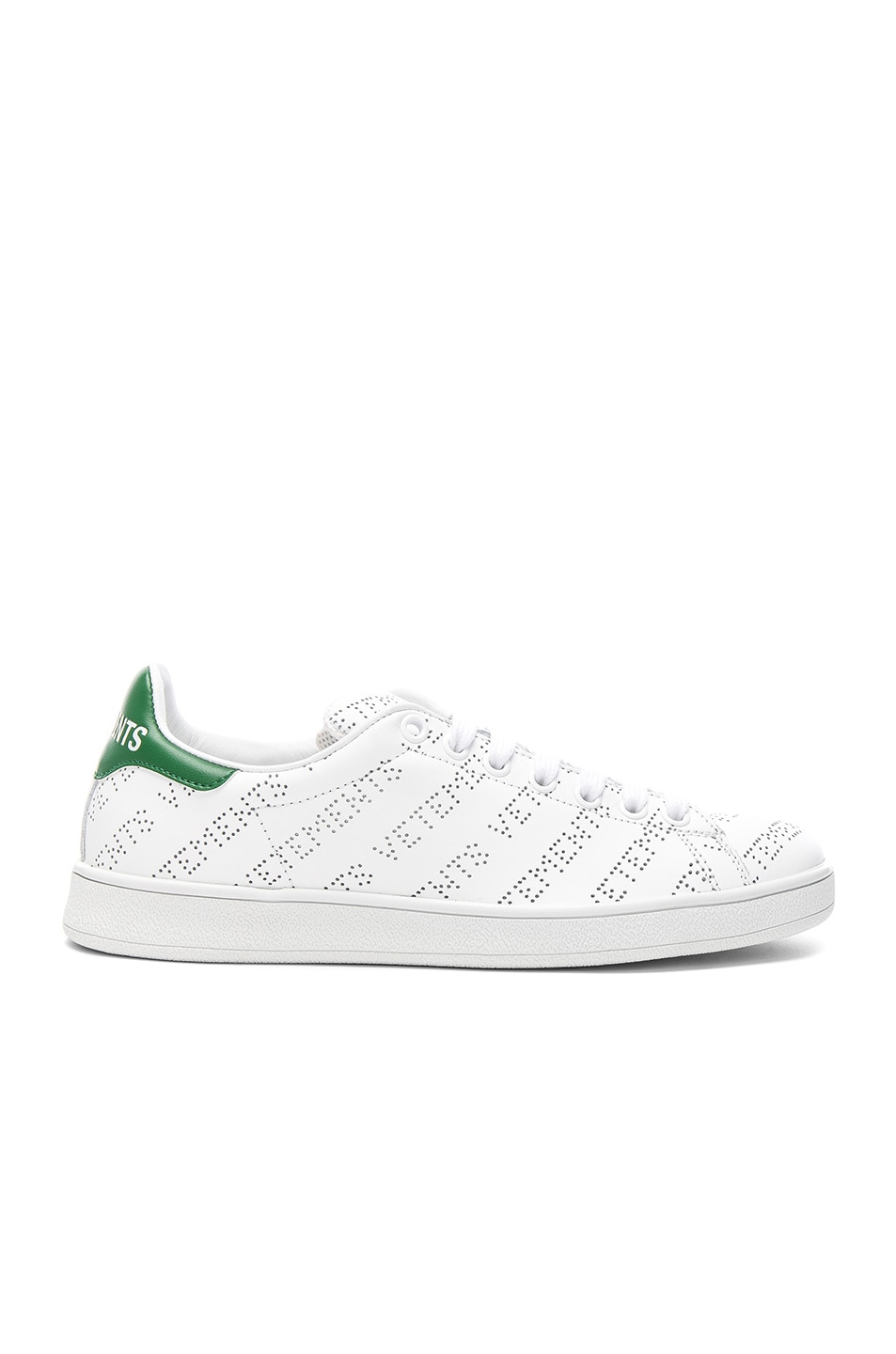 Image 1 of VETEMENTS Perforated Sneakers in White & Green