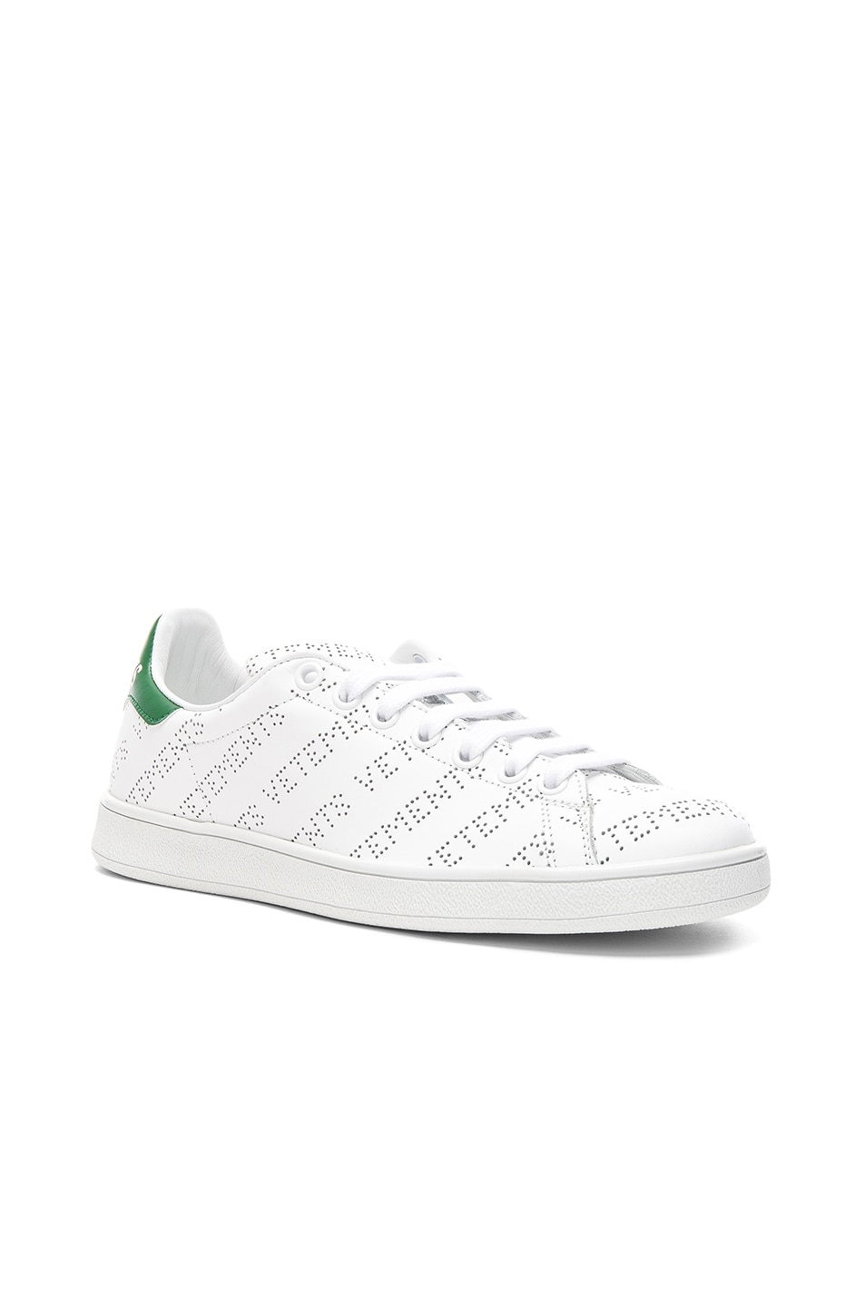Image 2 of VETEMENTS Perforated Sneakers in White & Green