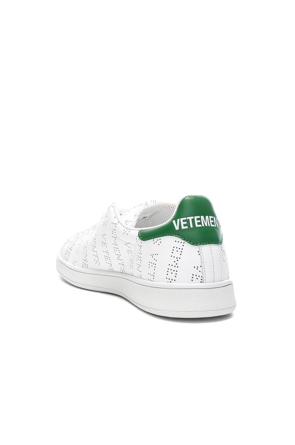 Image 3 of VETEMENTS Perforated Sneakers in White & Green