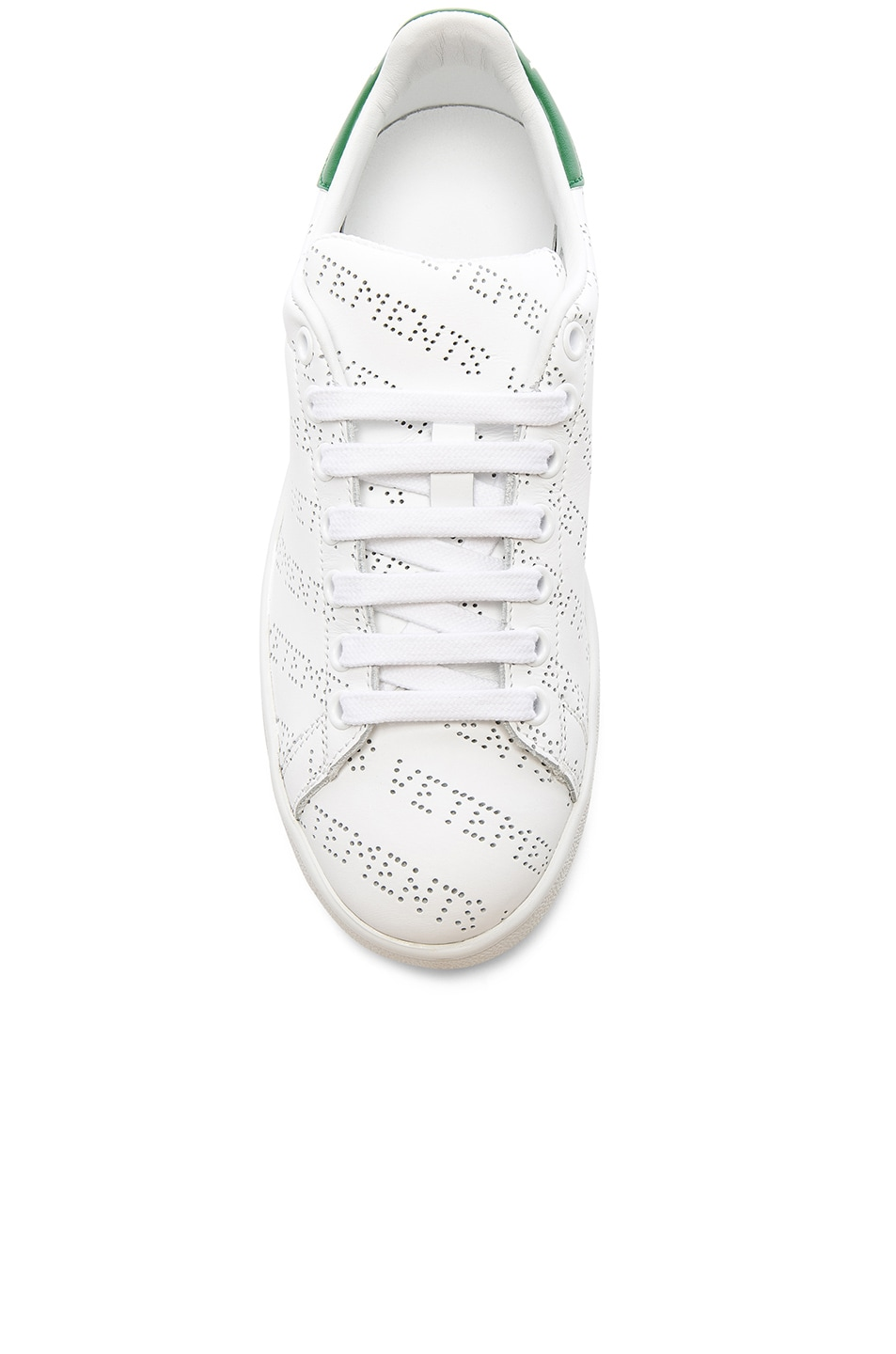 Image 4 of VETEMENTS Perforated Sneakers in White & Green