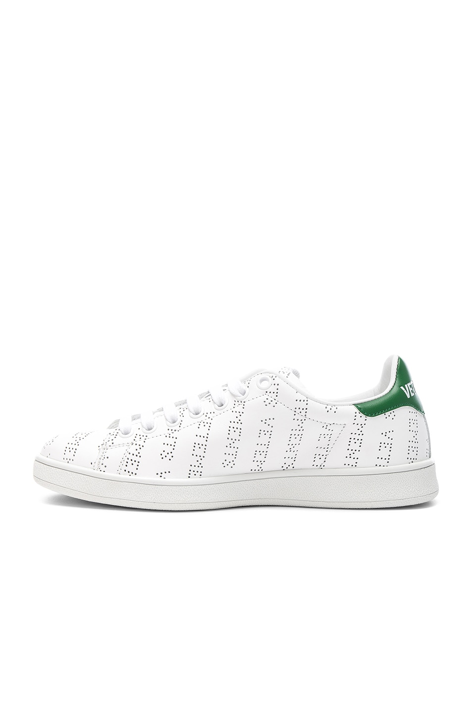 Image 5 of VETEMENTS Perforated Sneakers in White & Green