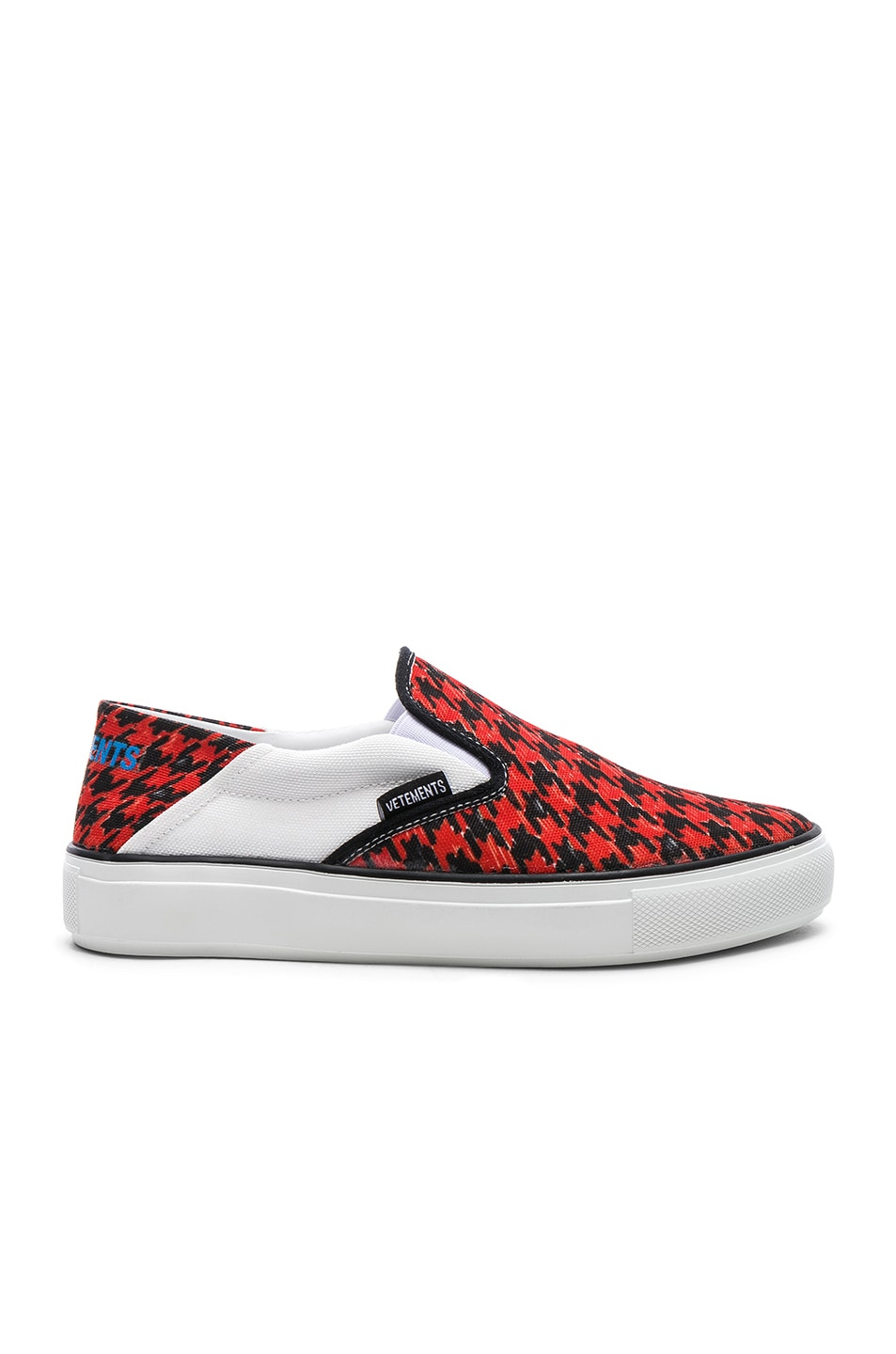 Image 1 of VETEMENTS Canvas Checkerboard Slip On Sneakers in Red & Black