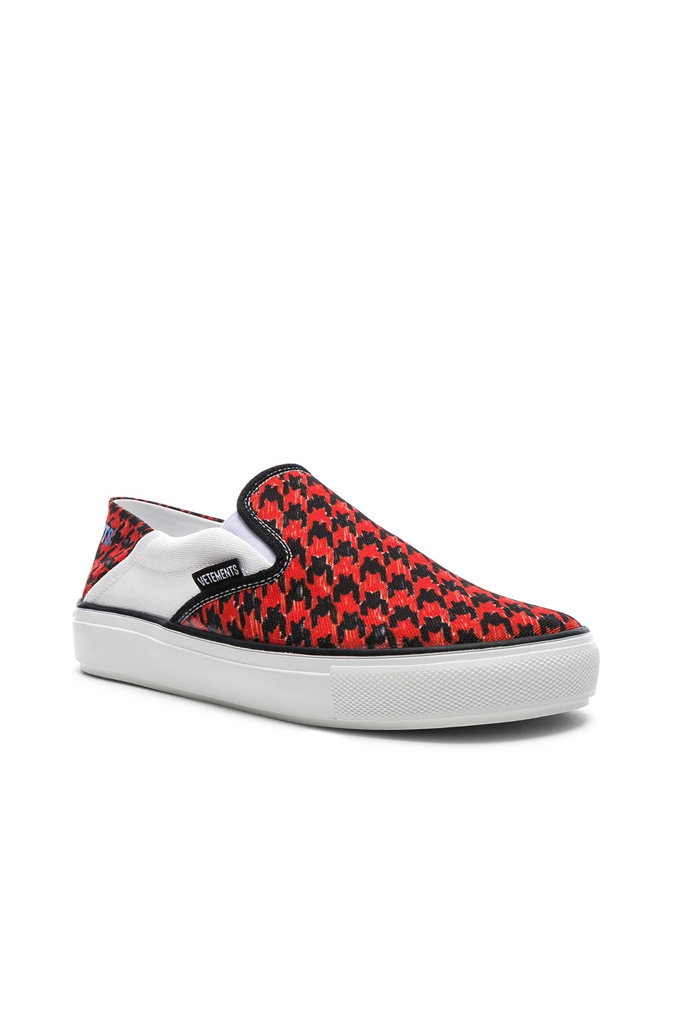 Image 2 of VETEMENTS Canvas Checkerboard Slip On Sneakers in Red & Black
