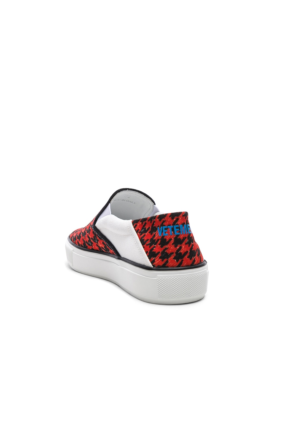 Image 3 of VETEMENTS Canvas Checkerboard Slip On Sneakers in Red & Black