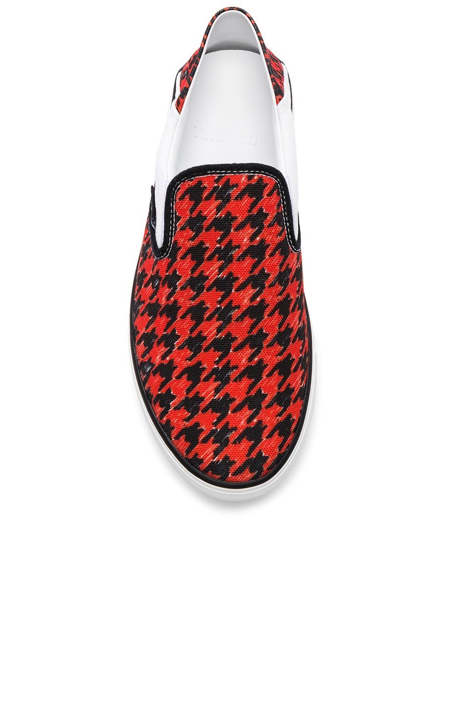 Image 4 of VETEMENTS Canvas Checkerboard Slip On Sneakers in Red & Black