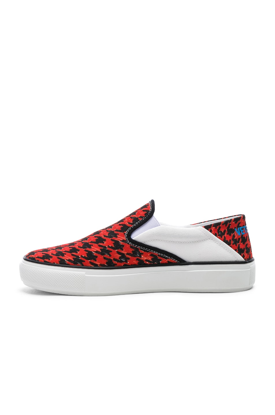 Image 5 of VETEMENTS Canvas Checkerboard Slip On Sneakers in Red & Black