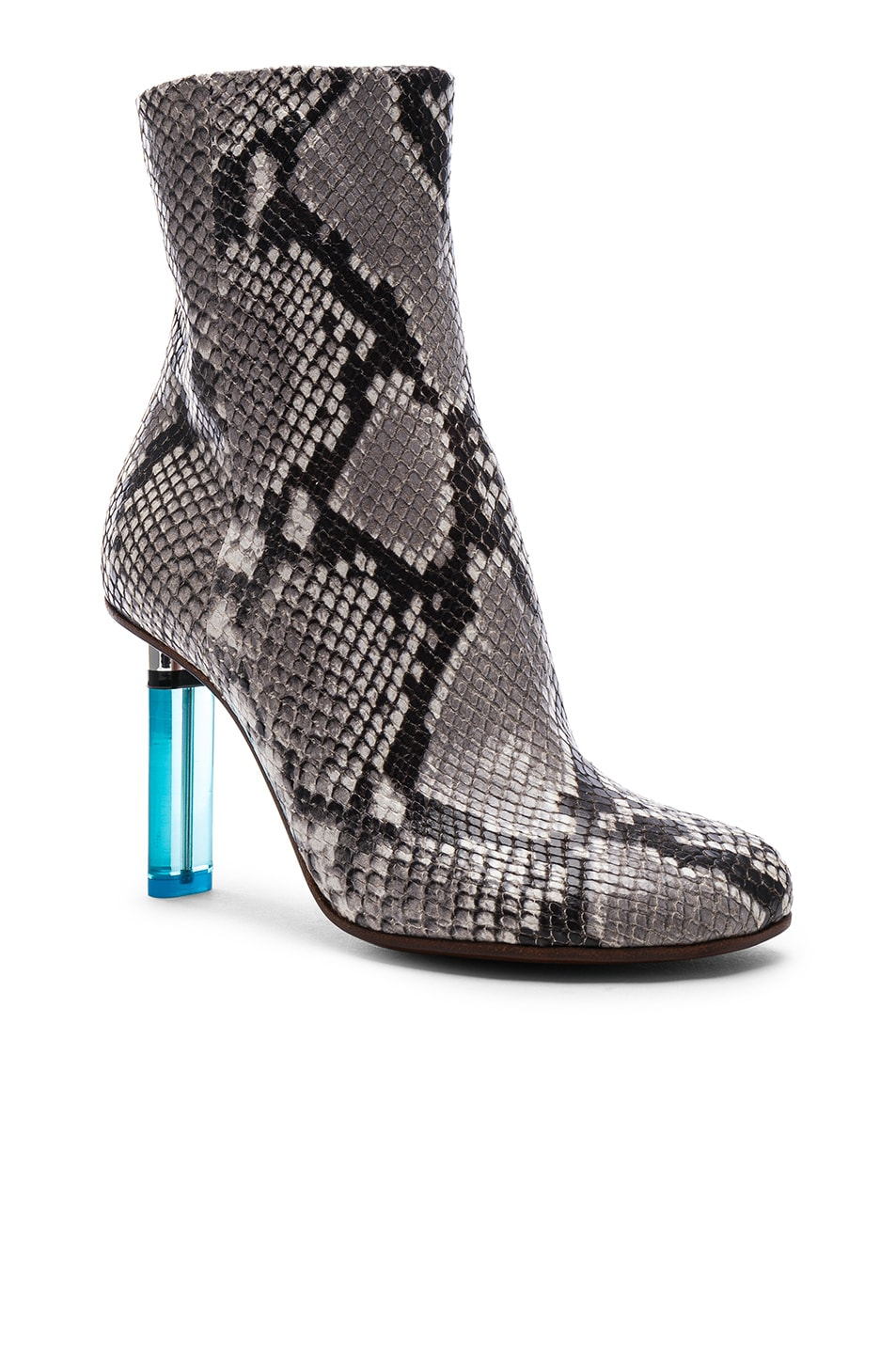 Image 2 of VETEMENTS Python Embossed Ankle Toe Boots in Python & Light Blue