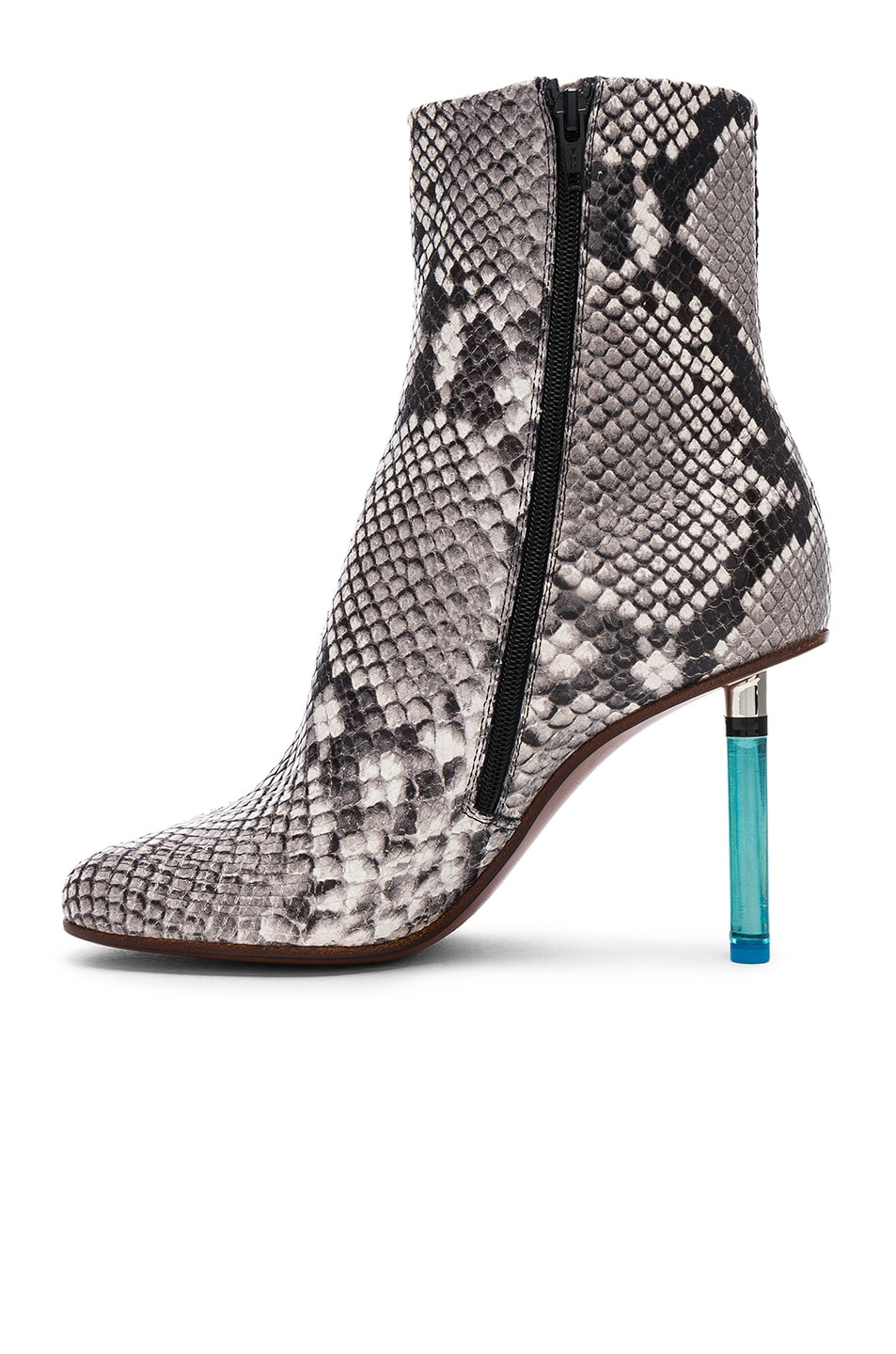 Image 5 of VETEMENTS Python Embossed Ankle Toe Boots in Python & Light Blue
