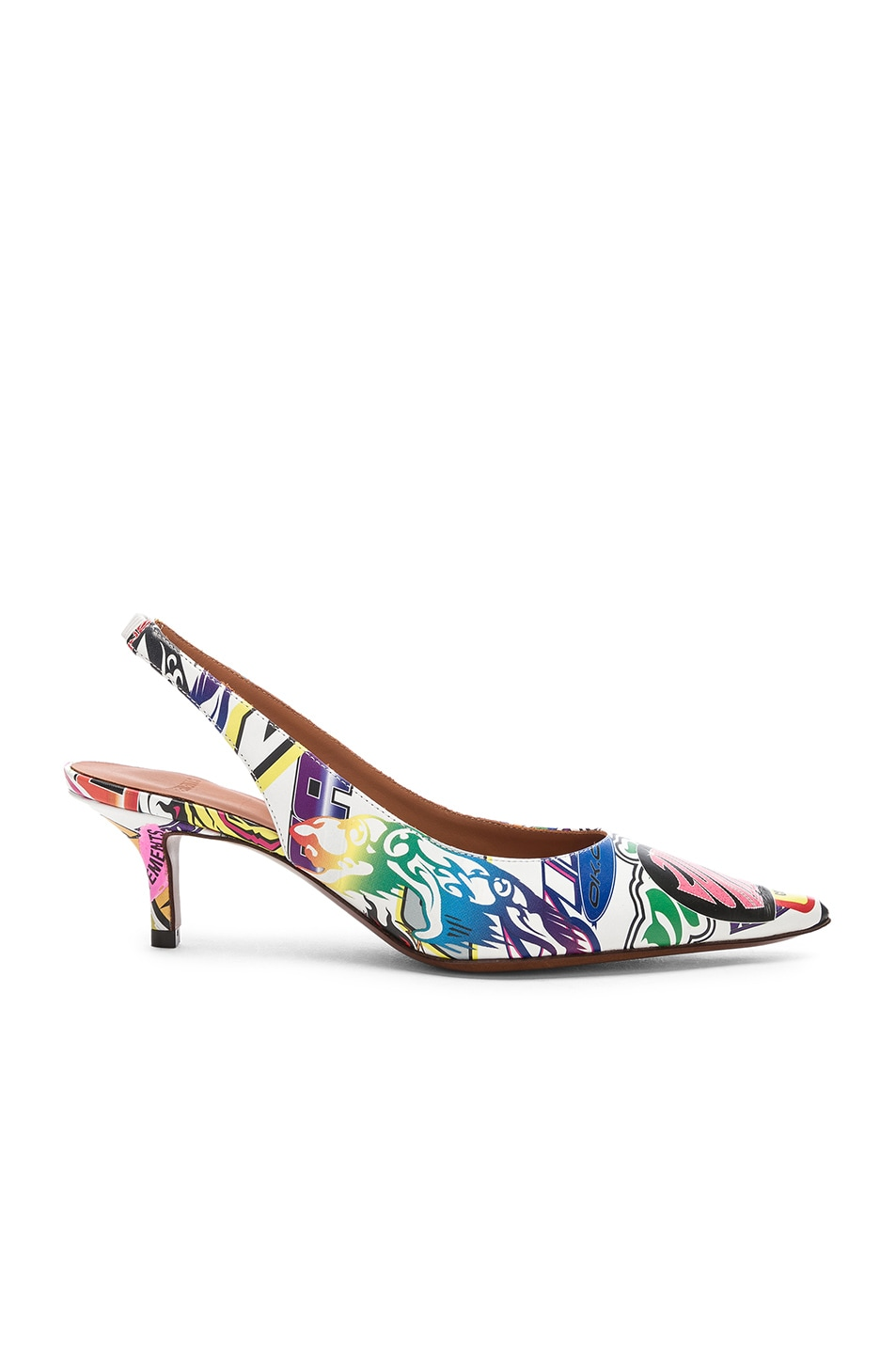 Image 2 of VETEMENTS Leather Sticker Slingbacks in White & Multicolor