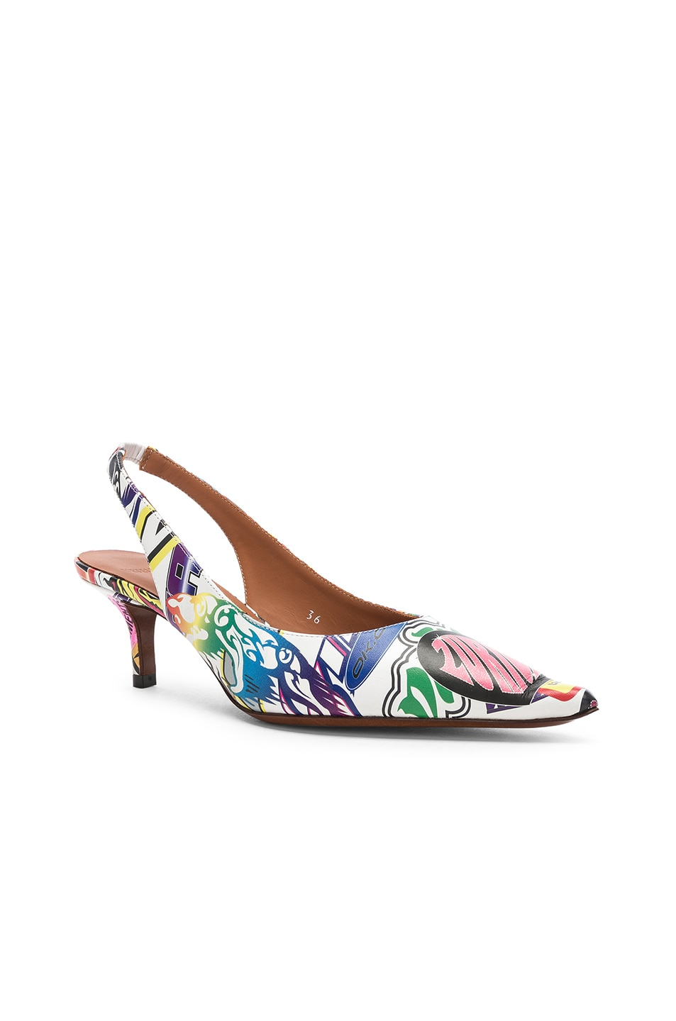 Image 3 of VETEMENTS Leather Sticker Slingbacks in White & Multicolor