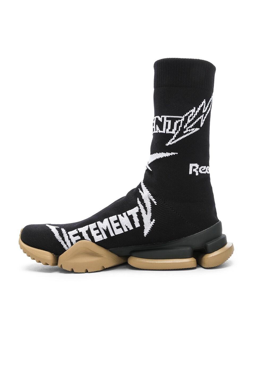 Image 5 of VETEMENTS x Reebok Metal Sock Boots in Black & White