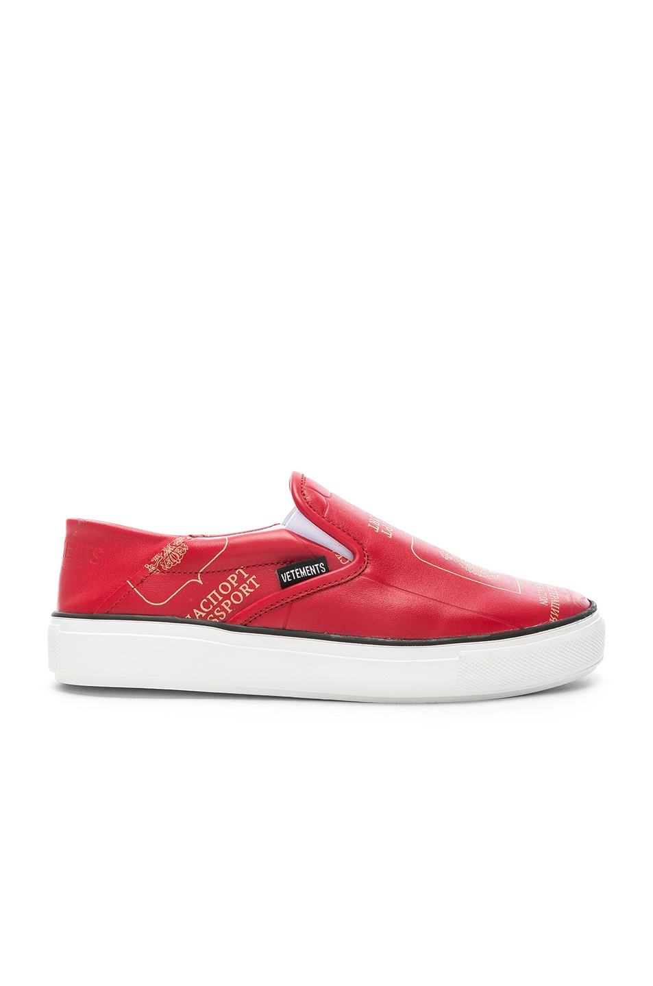 Image 1 of VETEMENTS Passport Slip Ons in Red