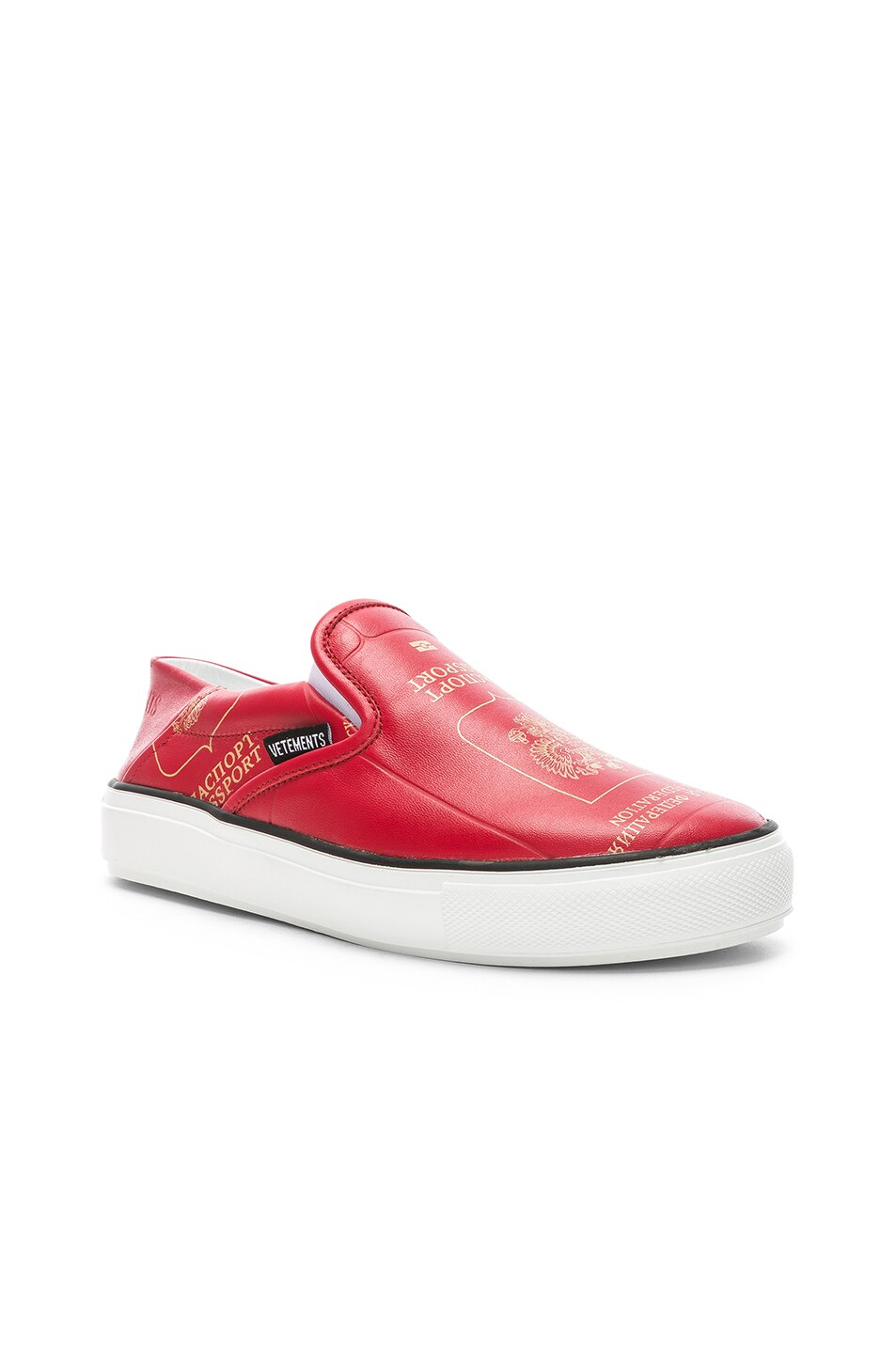 Image 2 of VETEMENTS Passport Slip Ons in Red