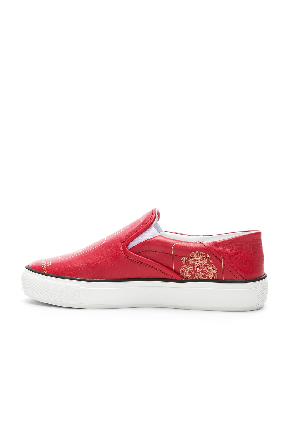 Image 5 of VETEMENTS Passport Slip Ons in Red