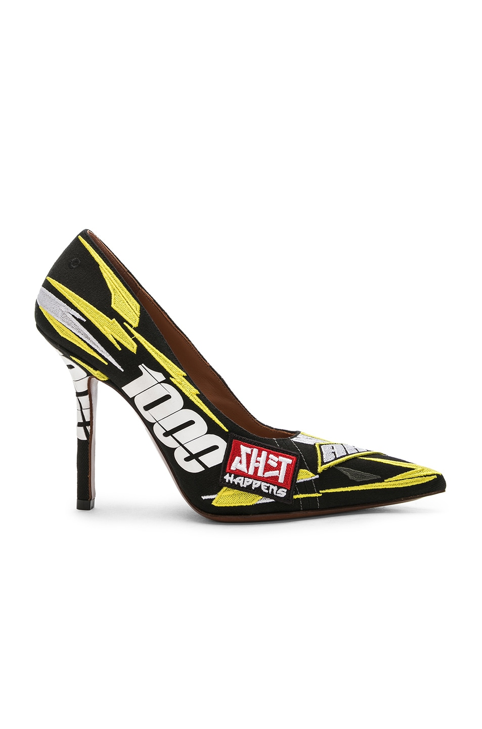 Image 1 of VETEMENTS Embroidered Race Pumps in Yellow