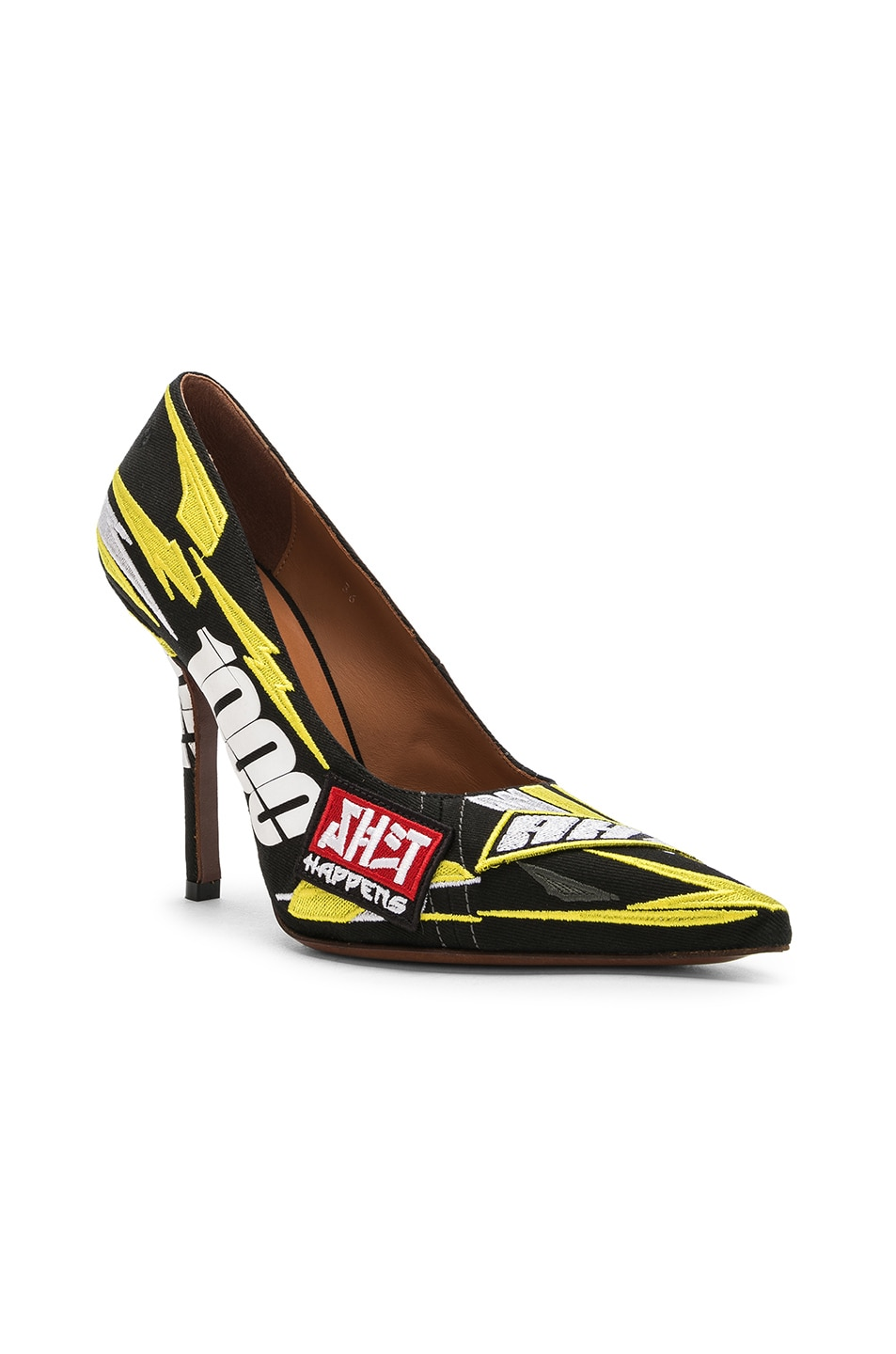 Image 2 of VETEMENTS Embroidered Race Pumps in Yellow