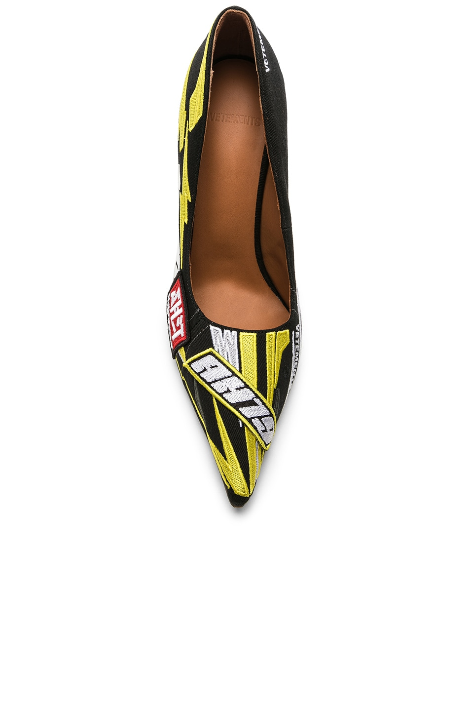 Image 4 of VETEMENTS Embroidered Race Pumps in Yellow
