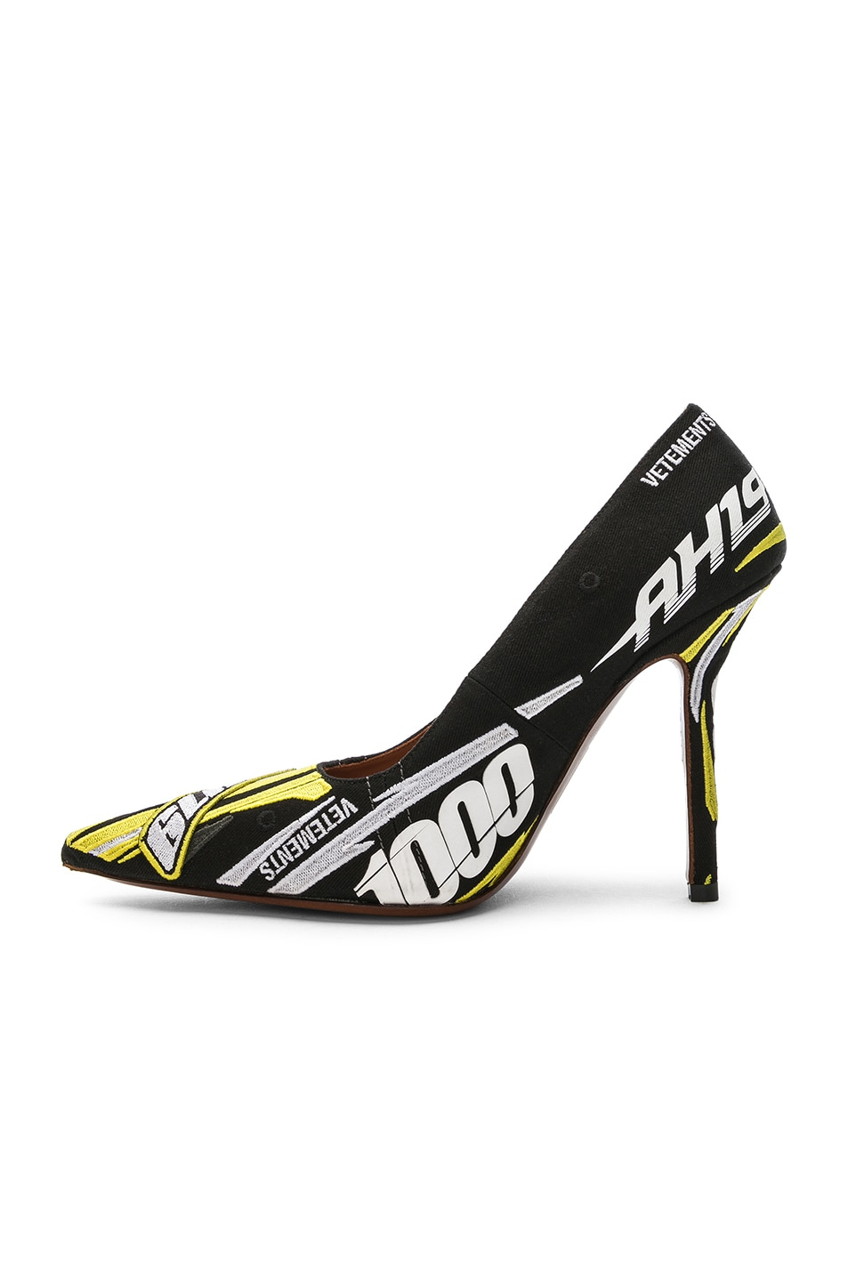 Image 5 of VETEMENTS Embroidered Race Pumps in Yellow