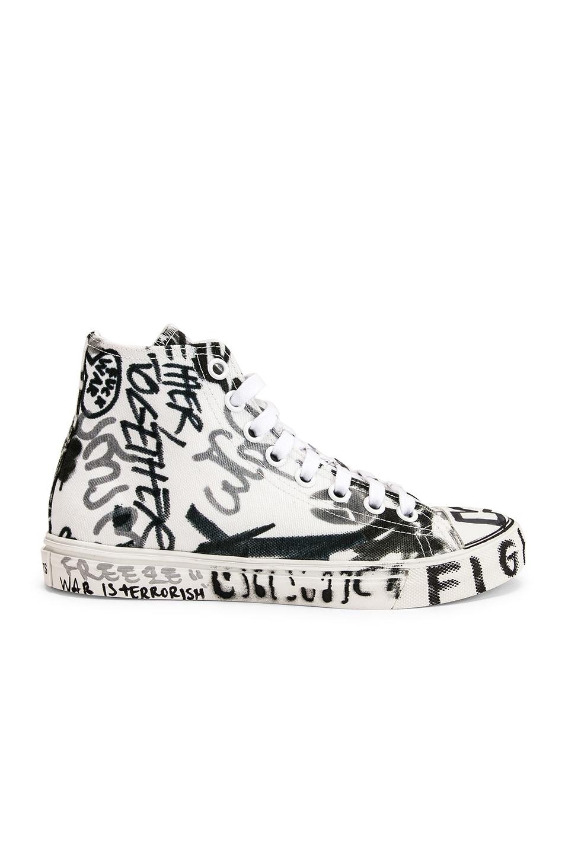 Image 2 of VETEMENTS Graffiti High Top Sneakers in White & Georgian Print