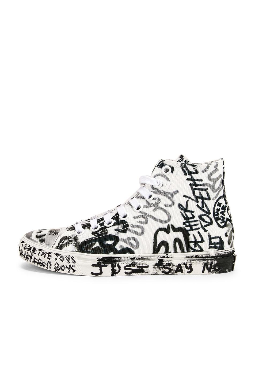 Image 8 of VETEMENTS Graffiti High Top Sneakers in White & Georgian Print