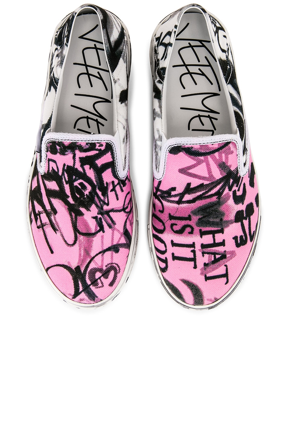 Image 1 of VETEMENTS Graffiti Slip On Sneakers in White & Pink