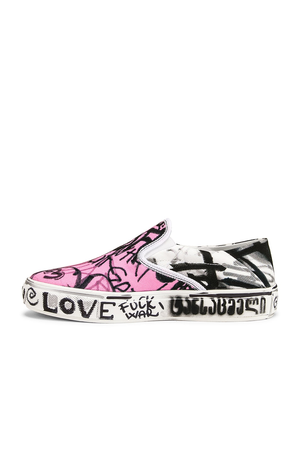 Image 5 of VETEMENTS Graffiti Slip On Sneakers in White & Pink