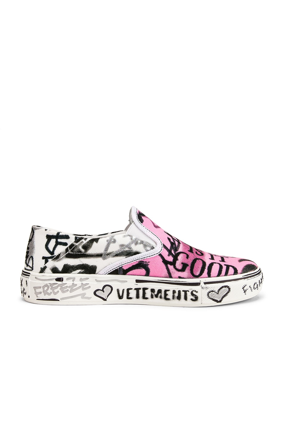 Image 7 of VETEMENTS Graffiti Slip On Sneakers in White & Pink
