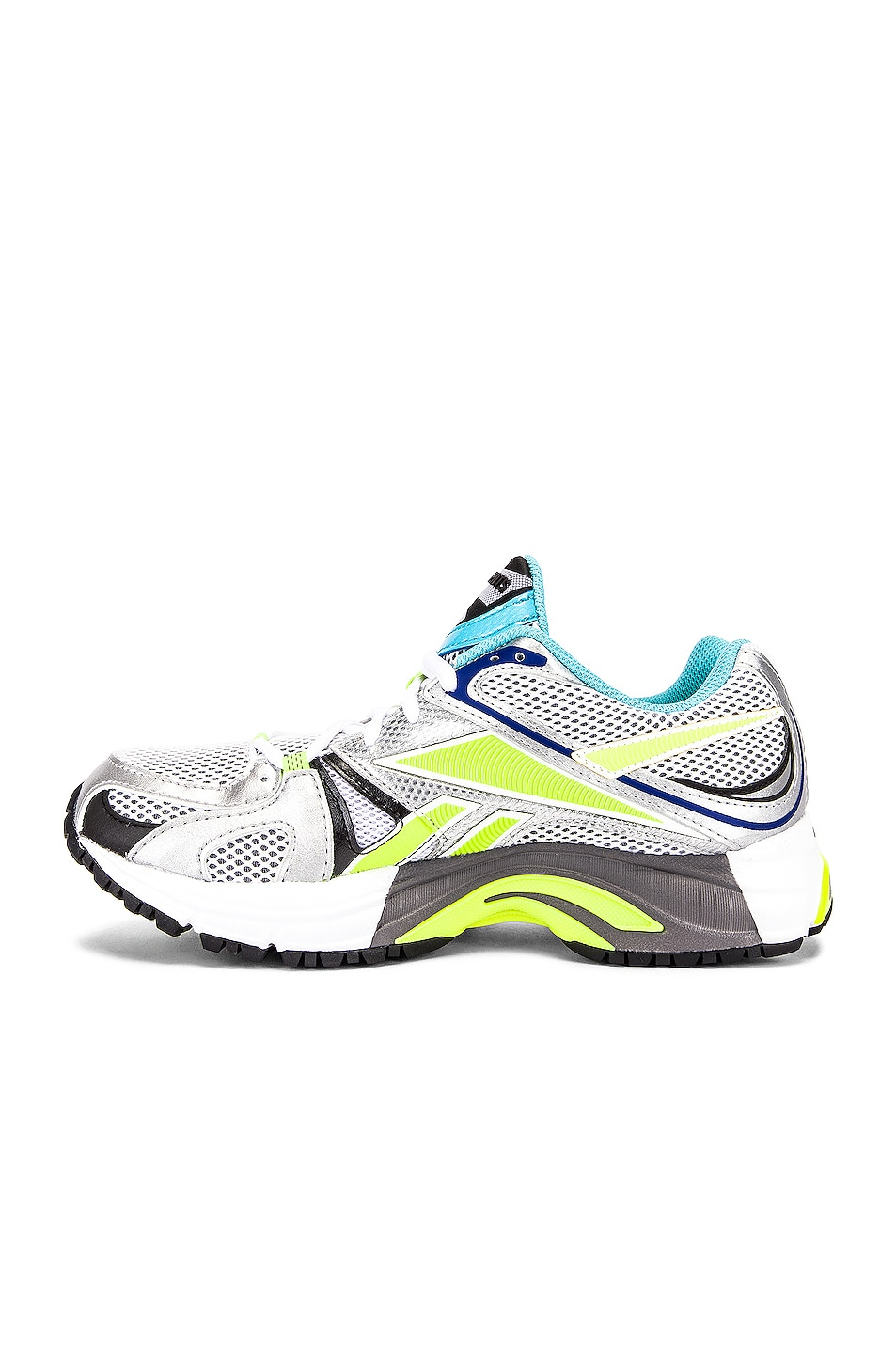Image 5 of VETEMENTS Spike Runner 200 Sneakers in White & Lime