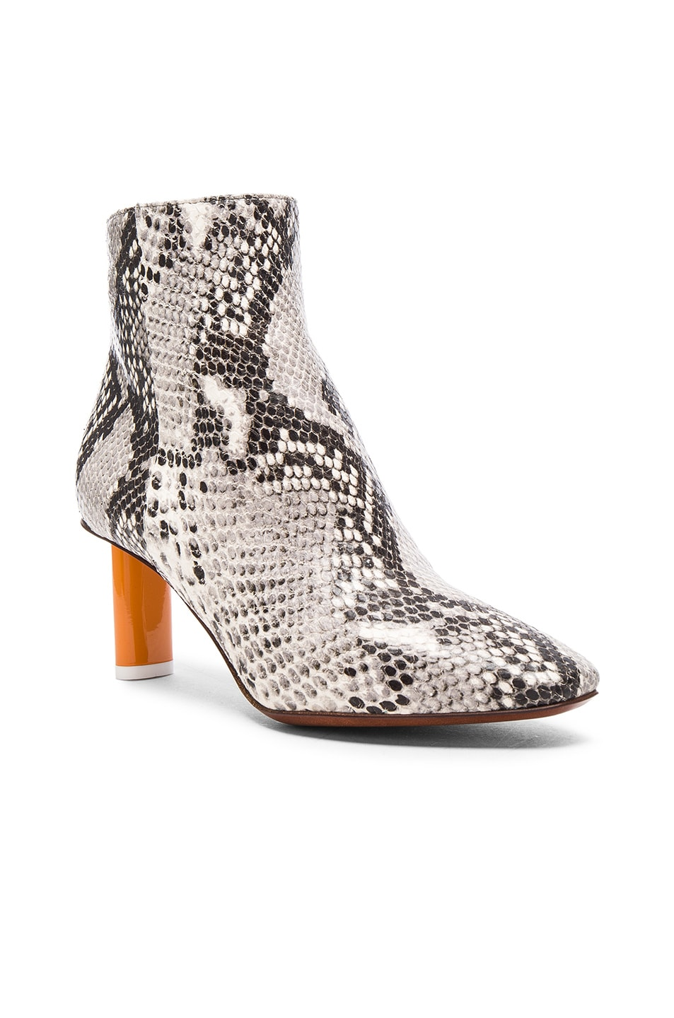 Image 2 of VETEMENTS Python Embossed Ankle Boots in Python & Orange