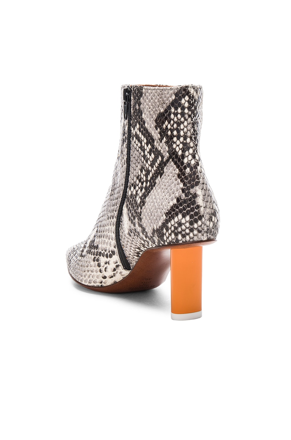 Image 3 of VETEMENTS Python Embossed Ankle Boots in Python & Orange