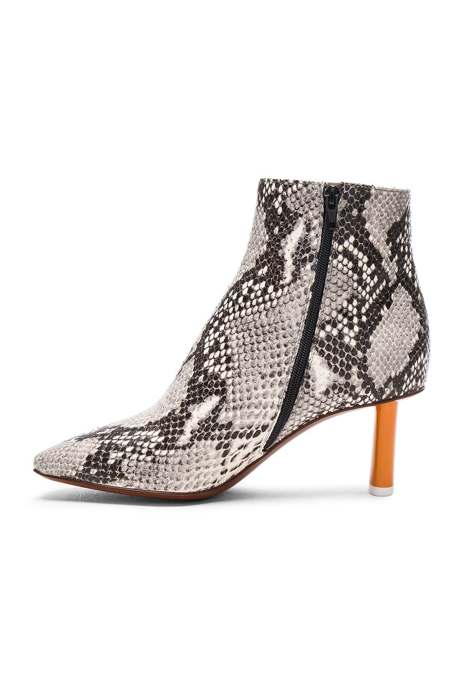 Image 5 of VETEMENTS Python Embossed Ankle Boots in Python & Orange