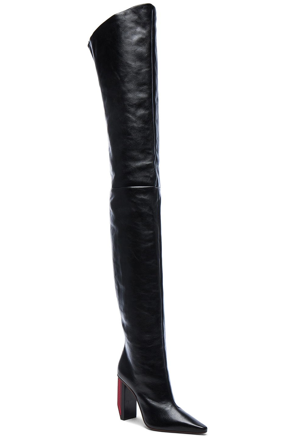 Image 2 of VETEMENTS Reflector Leather Thigh High Boots in Black & Red