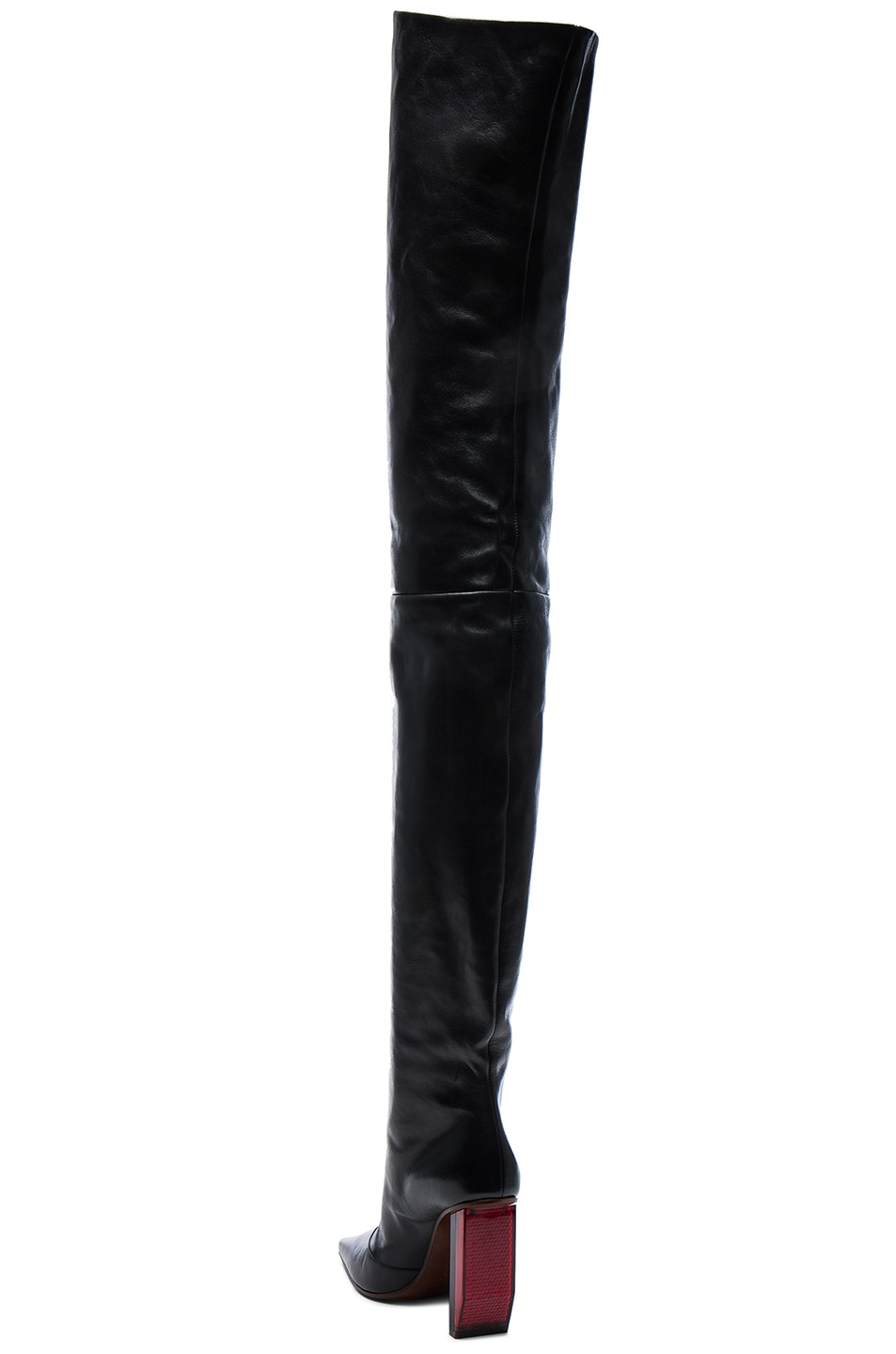 Image 3 of VETEMENTS Reflector Leather Thigh High Boots in Black & Red