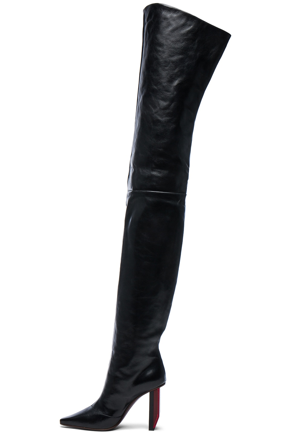 Image 5 of VETEMENTS Reflector Leather Thigh High Boots in Black & Red