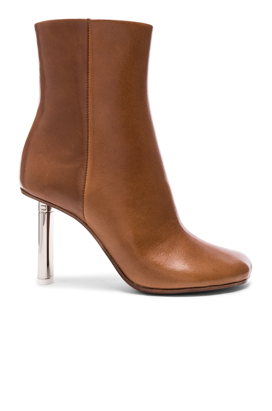 Image 1 of VETEMENTS Leather Toe Ankle Boots in Brown & Silver