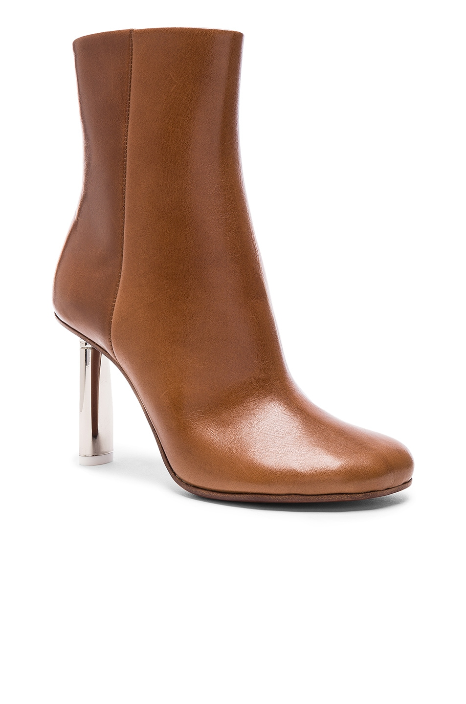 Image 2 of VETEMENTS Leather Toe Ankle Boots in Brown & Silver