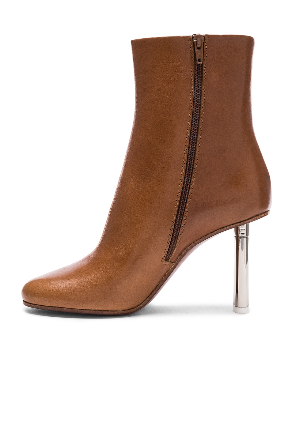 Image 5 of VETEMENTS Leather Toe Ankle Boots in Brown & Silver