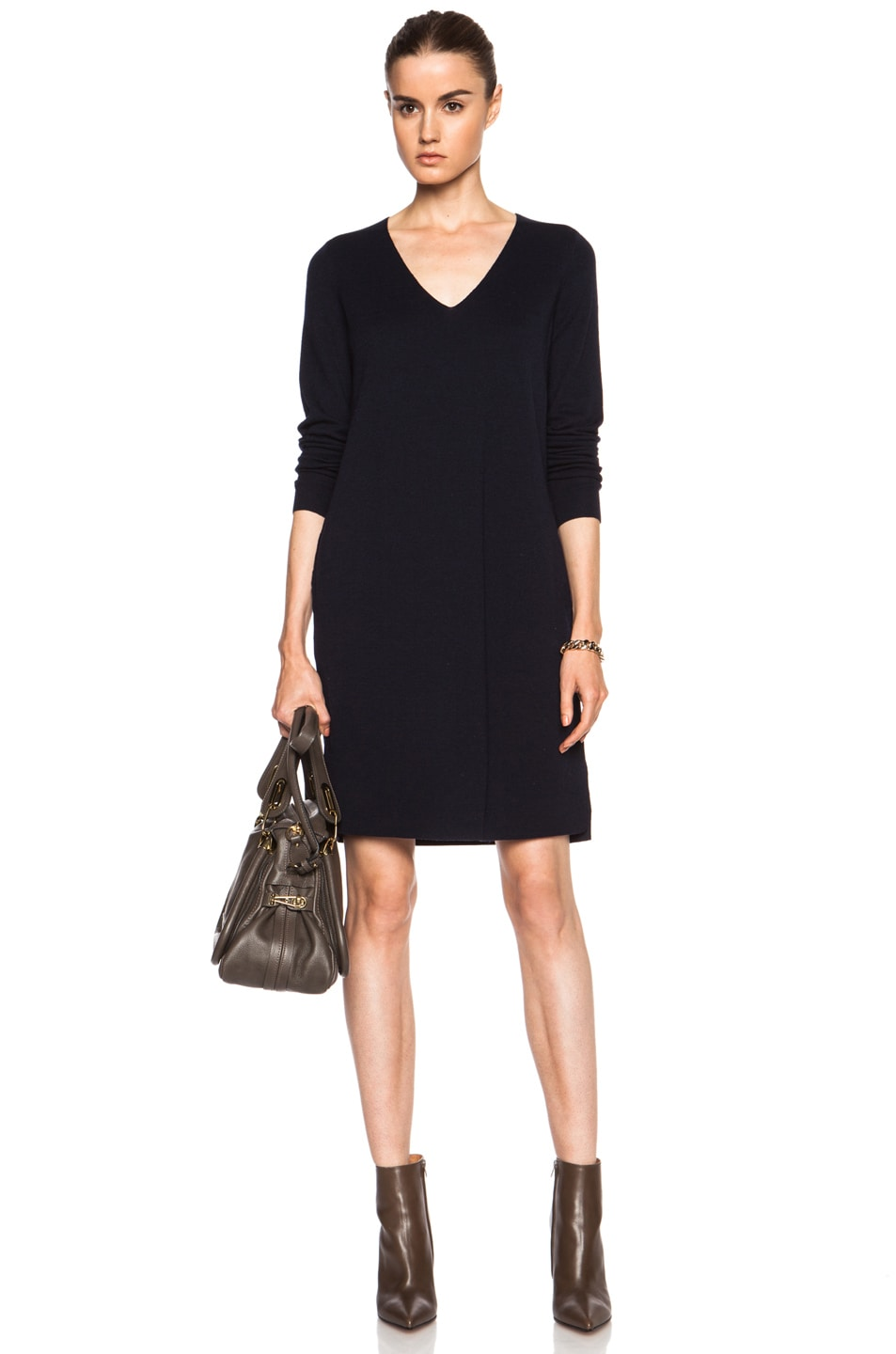 Preferred Vince Mixed Media Wool Dress in Coastal Blue | FWRD KR65
