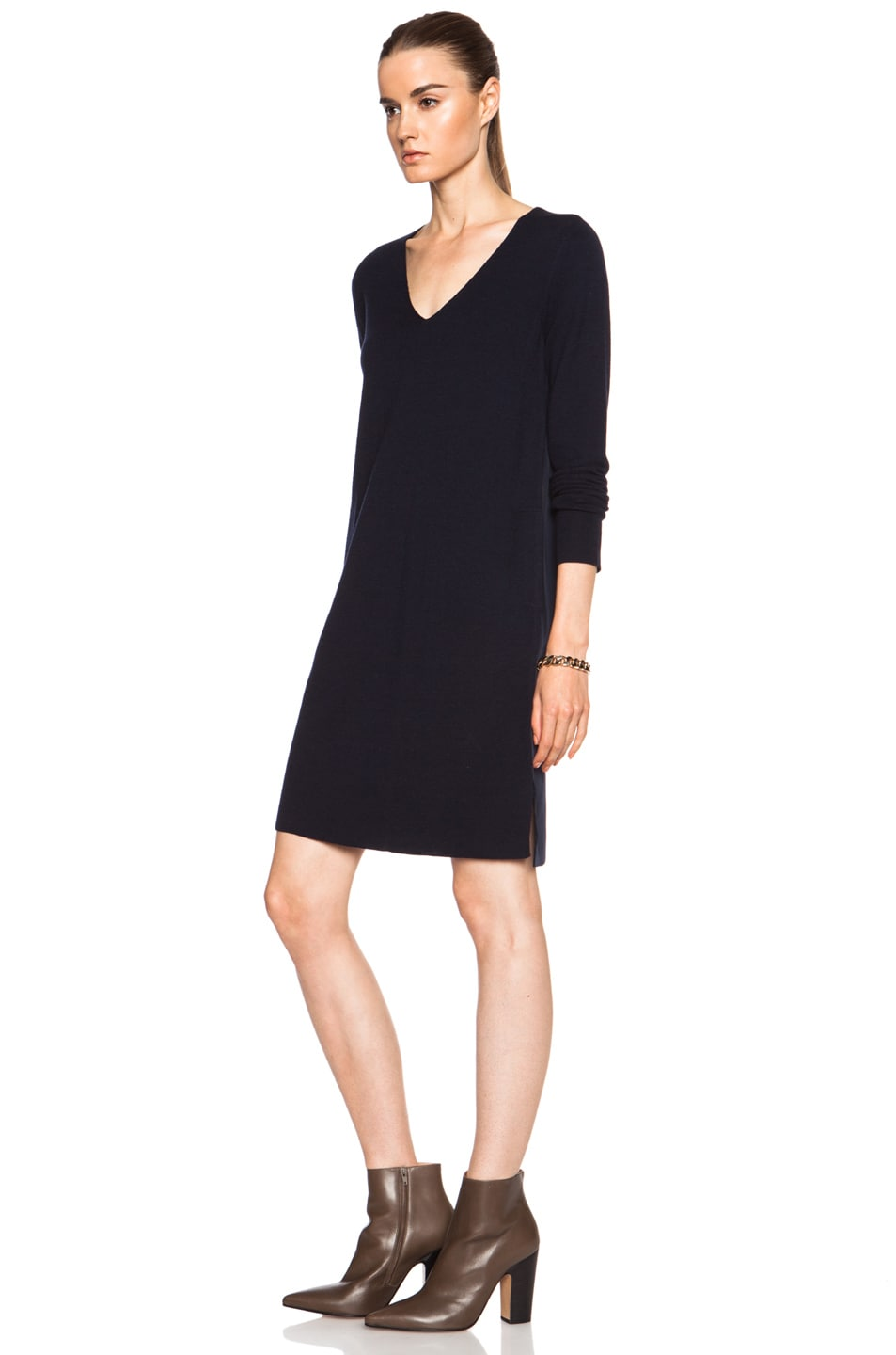 Image 2 of Vince Mixed Media Wool Dress in Coastal Blue
