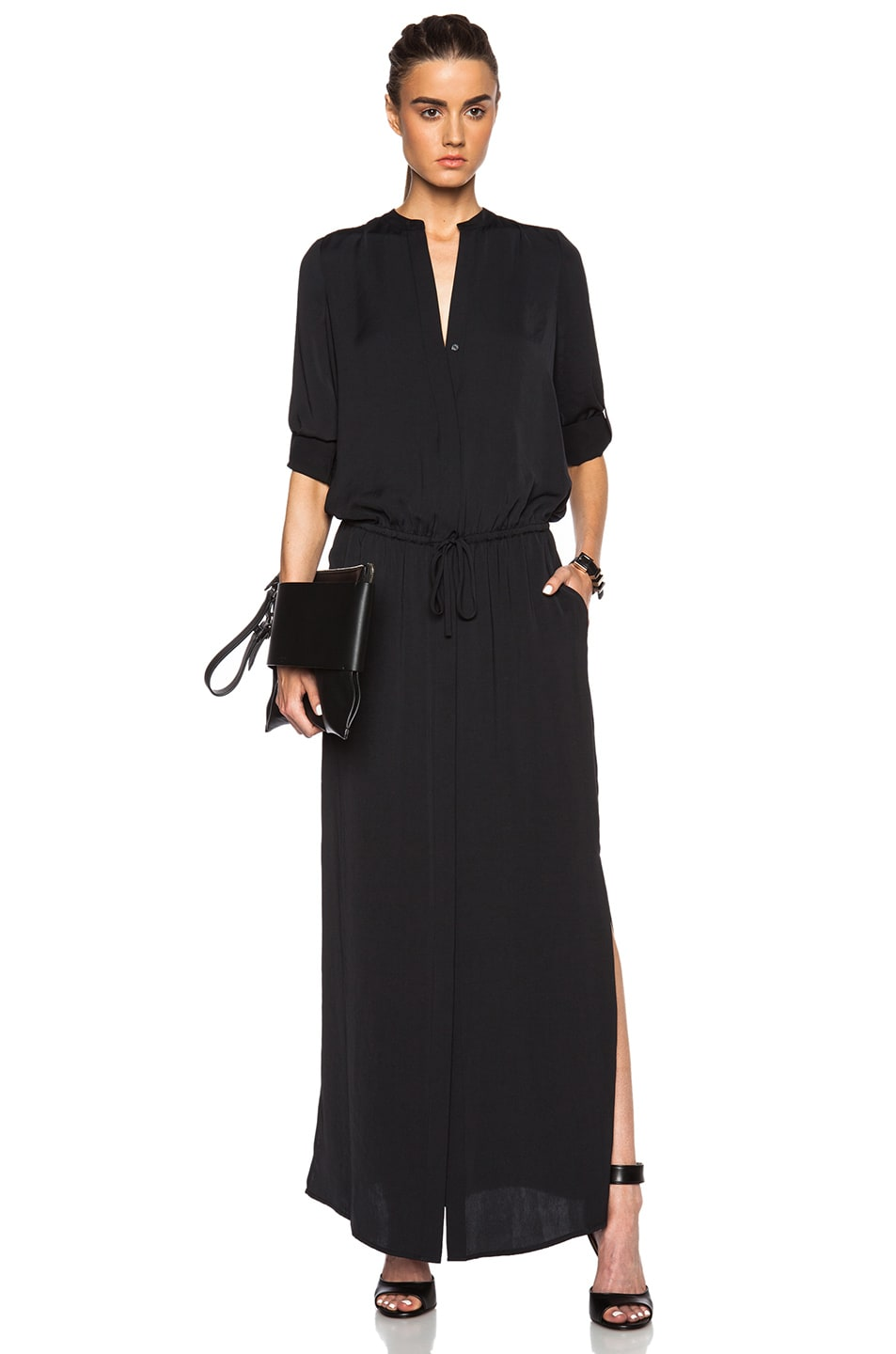 Image 1 of Vince Maxi Shirt Dress in Black