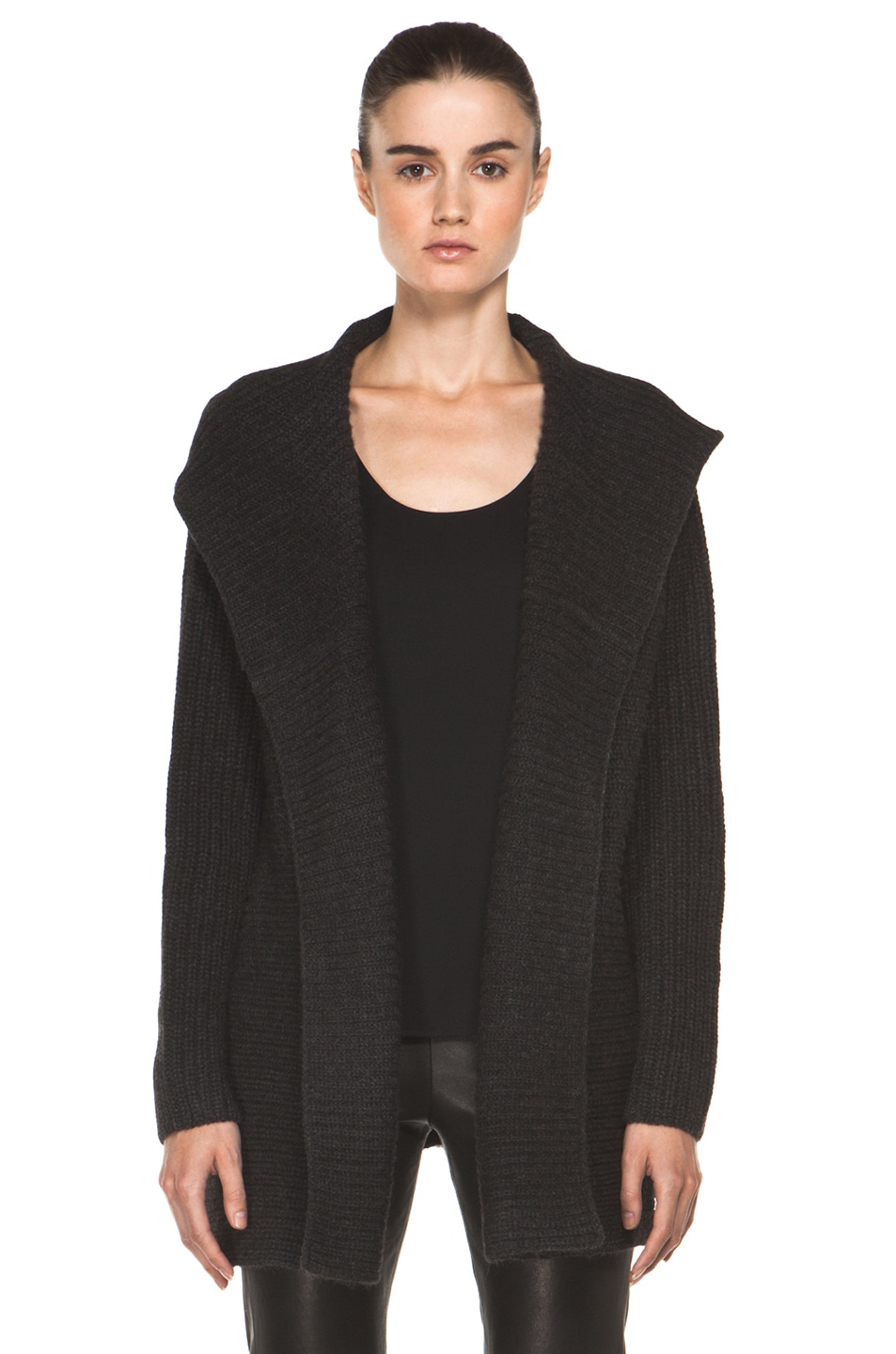 Vince Hooded Cardigan in Dark Carbon | FWRD