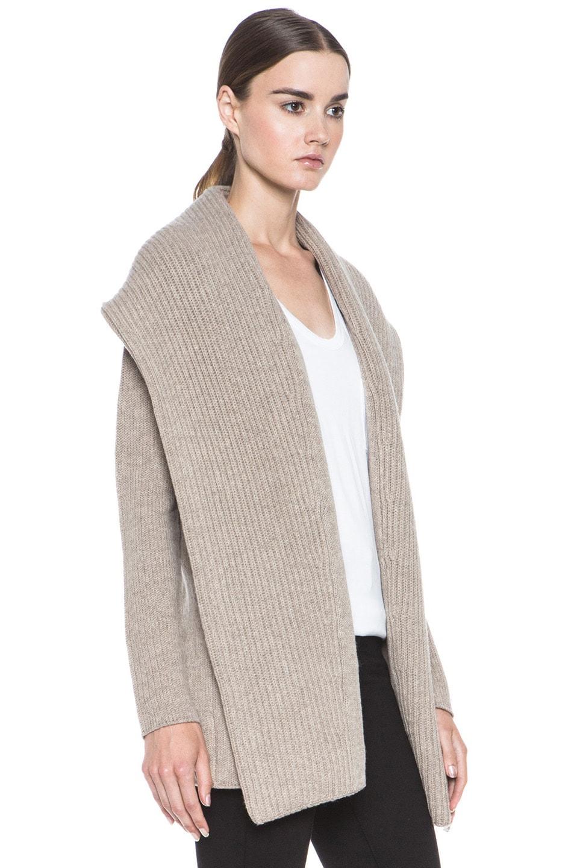 Image 3 of Vince Rib Shawl Sweater Coat in Heather Oatmeal