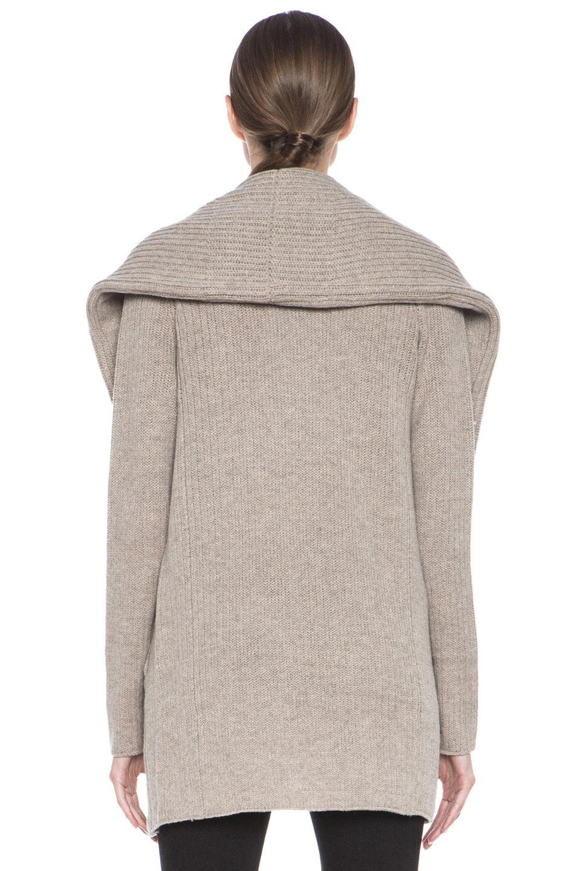 Image 4 of Vince Rib Shawl Sweater Coat in Heather Oatmeal