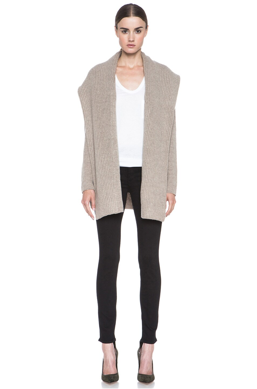 Image 5 of Vince Rib Shawl Sweater Coat in Heather Oatmeal