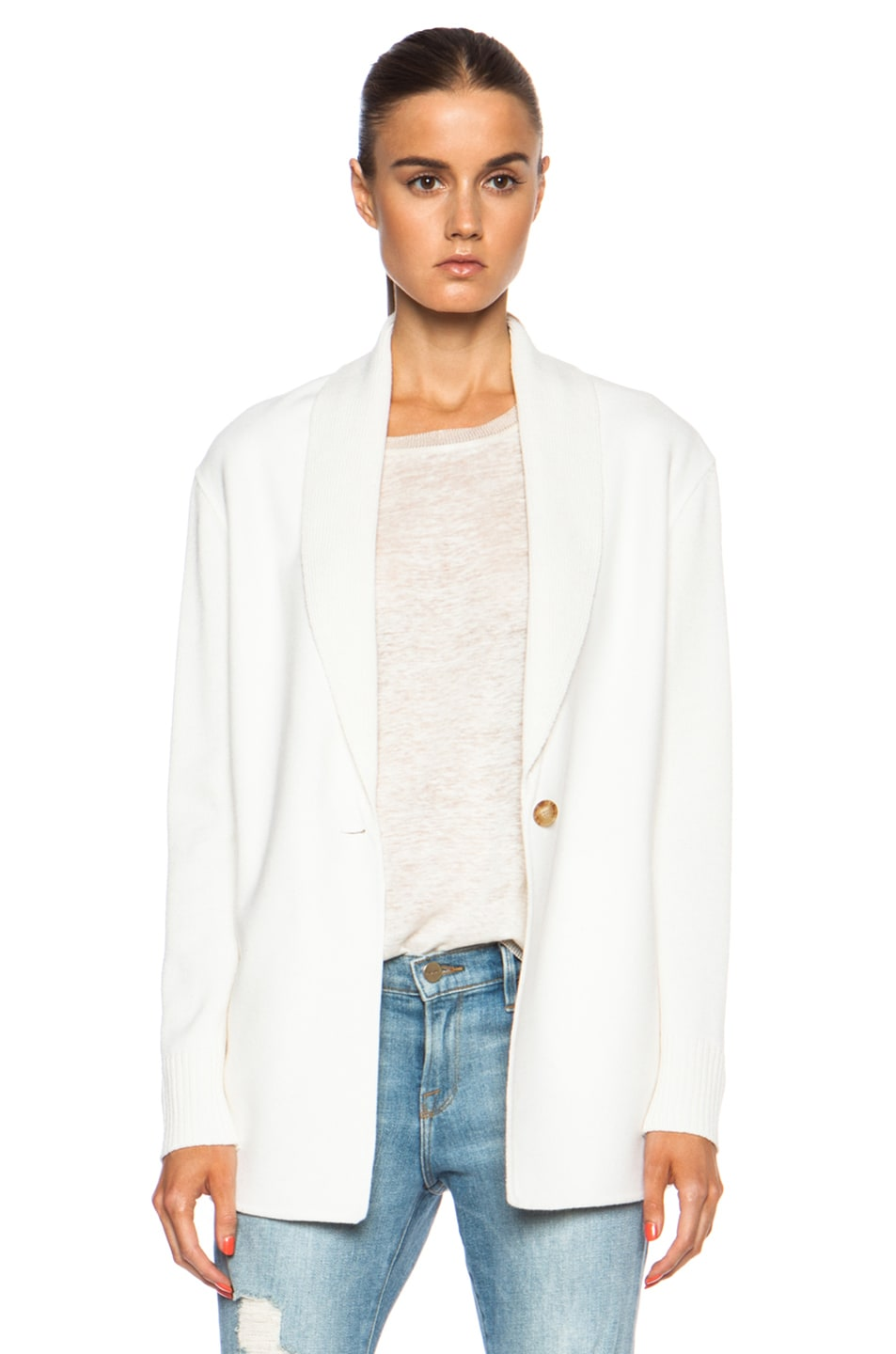 Image 1 of Vince Shawl Collar Wool-Blend Cardigan in Winter White