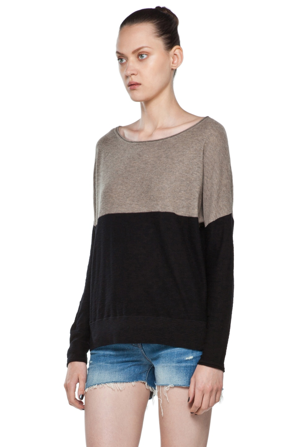 Image 2 of Vince Color Block Sweater in Black & Cleats