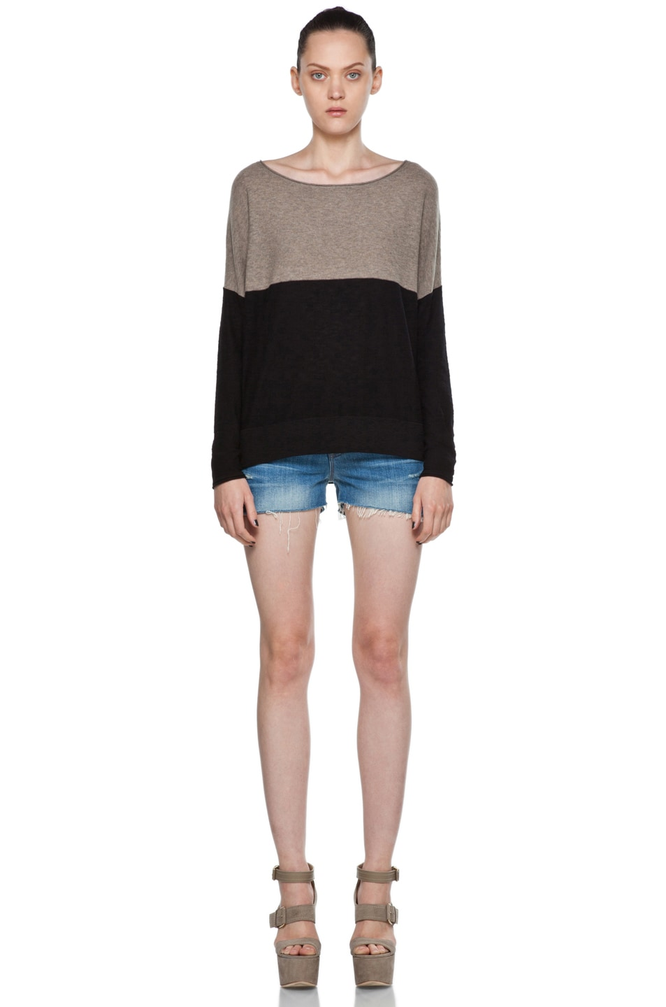 Image 5 of Vince Color Block Sweater in Black & Cleats